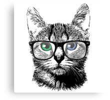 Nerdy Cat Hipster Kitten in Glasses Canvas Print
