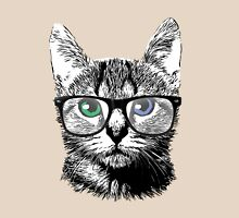 Nerdy Cat Hipster Kitten in Glasses Womens Fitted T-Shirt