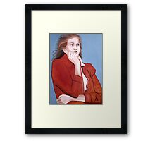 Girl in Red Sweater Framed Print