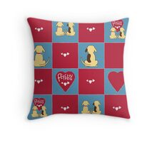 Fetching dog couple pattern Throw Pillow