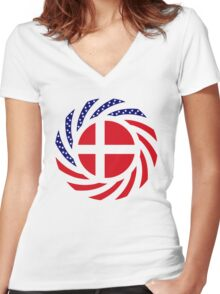 Danish American Multinational Patriot Flag Series Women's Fitted V-Neck T-Shirt