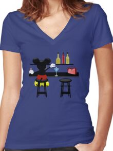 Slipping A Mickey Women's Fitted V-Neck T-Shirt