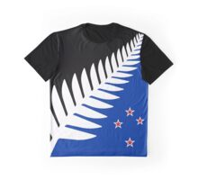 Silver Fern Flag Banner Graphic T-Shirt