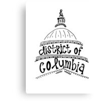 District of Columbia Zentangle Canvas Print