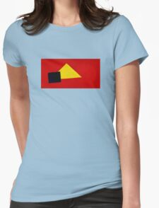 Triangle Circle Square with Red Background Womens Fitted T-Shirt