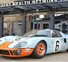 Ford GT 40 Racecar Gulf Oil Vintage Auto by HotSaus Design