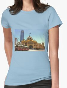 Melbourne's iconic City Circle Tram in front of Flinders Street Station  Womens Fitted T-Shirt