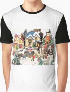 little town winter scene Graphic T-Shirt