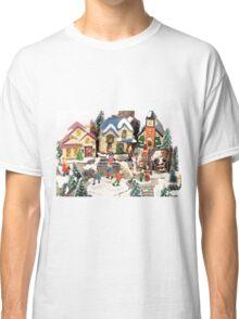 little town winter scene Classic T-Shirt