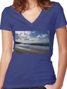 Run, the Big Kahuna is Coming - Waimea Bay Beach Fun on Oahu, Hawaii Women's Fitted V-Neck T-Shirt