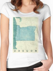 Oregon Map Blue Vintage Women's Fitted Scoop T-Shirt
