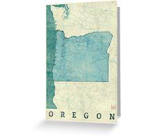 Oregon Map Blue Vintage Greeting Card