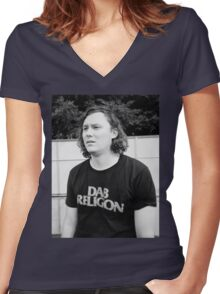 """Brian Sella (The Front Bottoms) """"Dab Religion"""" Women's Fitted V-Neck T-Shirt"""