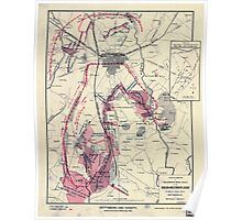 Civil War Maps 0445 Gettysburg and vicinity showing the lines of battle July 1863 Poster