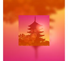 Gorgeous Pagoda Silhouette Sunset Light Leak Gradation Photographic Print