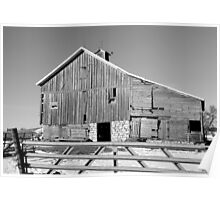 Hickory Avenue Barn BW Poster