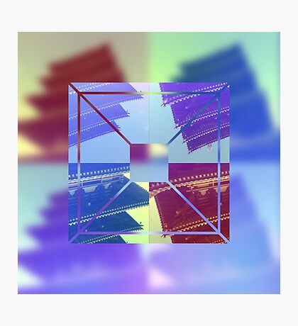 Abstract Five-Storied Pagoda Purple Brown Green Geometric Photographic Print