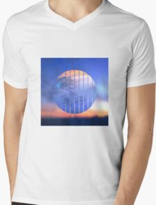 Sunset Starry Night Sky Blue Orange Geometric Abstract Mens V-Neck T-Shirt