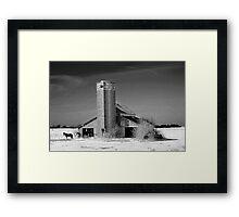 Horse Barn BW Framed Print