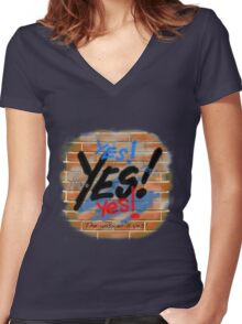 Yes! The Answer's Yes! Women's Fitted V-Neck T-Shirt