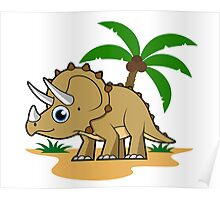 Cute illustration of a Triceratops in a tropical climate. Poster
