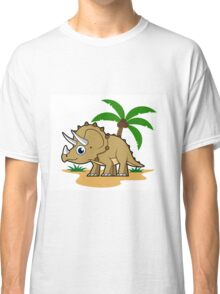 Cute illustration of a Triceratops in a tropical climate. Classic T-Shirt