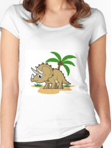 Cute illustration of a Triceratops in a tropical climate. Women's Fitted Scoop T-Shirt