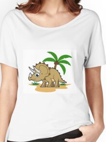 Cute illustration of a Triceratops in a tropical climate. Women's Relaxed Fit T-Shirt