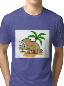 Cute illustration of a Triceratops in a tropical climate. Tri-blend T-Shirt