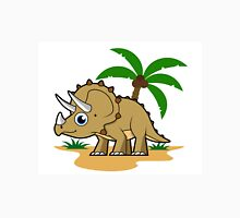 Cute illustration of a Triceratops in a tropical climate. Unisex T-Shirt