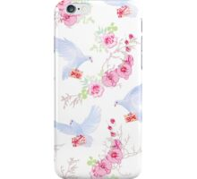 Delicate vector pattern with post doves, love letters, orchids, roses and tree branches iPhone Case/Skin
