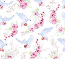 Delicate vector pattern with post doves, love letters, orchids, roses and tree branches by lavendertime