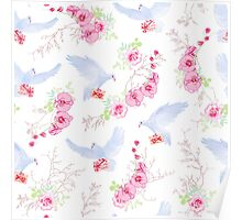 Delicate vector pattern with post doves, love letters, orchids, roses and tree branches Poster