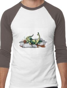 Illustration of a Hadrosaurus relaxing in a jacuzzi. Men's Baseball ¾ T-Shirt