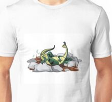 Illustration of a Hadrosaurus relaxing in a jacuzzi. Unisex T-Shirt