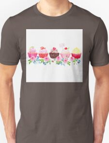 Colorful cupcakes with flowers vector design stripe T-Shirt