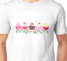 Colorful cupcakes with flowers vector design stripe Unisex T-Shirt