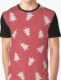 Pixel Forest Pattern in Vintage Red Graphic T-Shirt