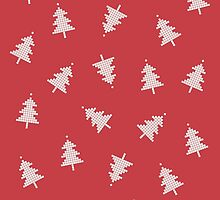 Pixel Forest Pattern in Vintage Red by daisy-beatrice