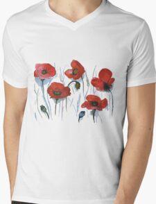 Red Poppies Mens V-Neck T-Shirt