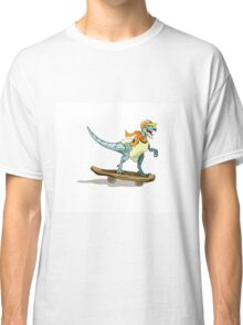 Illustration of a raptor skateboarding. Classic T-Shirt