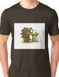 Illustration of a Stegosaurus drinking a beverage. Unisex T-Shirt