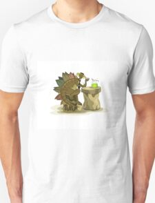 Illustration of a Stegosaurus drinking a beverage. Unisex T-Shirt