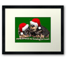Santa Paws Is Coming To Town Christmas Greeting Framed Print