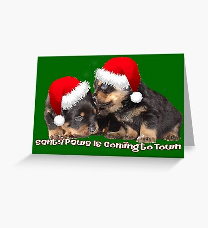 Santa Paws Is Coming To Town Christmas Greeting Greeting Card
