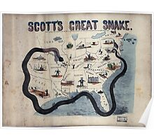 Civil War Maps 1559 Scott's great snake Entered according to Act of Congress in the year 1861 Poster