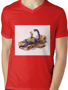 Illustration of a Brontosaurus sunbathing. Mens V-Neck T-Shirt