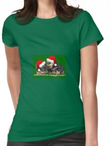 Santa Paws Is Coming To Town Christmas Greeting Womens Fitted T-Shirt