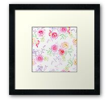 Peonies and roses seamless vector pattern in shabby chic style. Framed Print