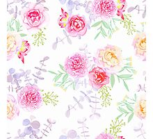 Peonies and roses seamless vector pattern in shabby chic style. Photographic Print